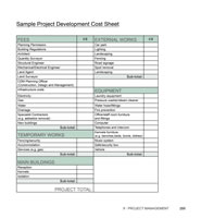 Project Development Cost Sheet